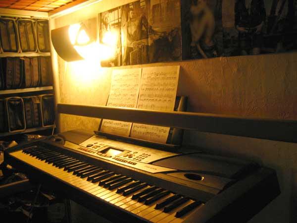 2006년1월 내방의 모습(조명과 미디키보드 MIDI Keyboard YAMAHA PSR-GX76)