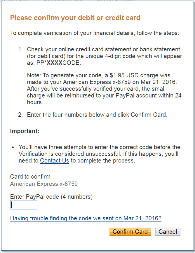Enter PayPal Code