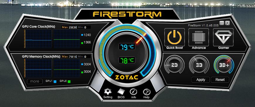 Zotac FireStorm 실행 화면. GPU1 온도 79도, GPU2 온도 78도. 코어클럭 1240Mhz&1366Mhz