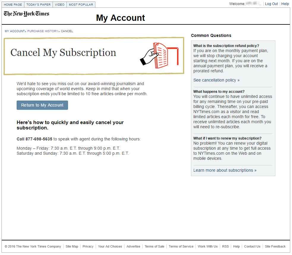 구독취소 버튼 대신 뉴욕타임즈 전화번호(Call 877-698-5635)가 씌여 있다.