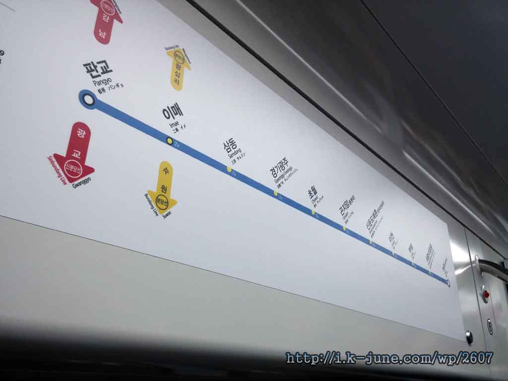 전철 노선도의 모습. 판교-여주