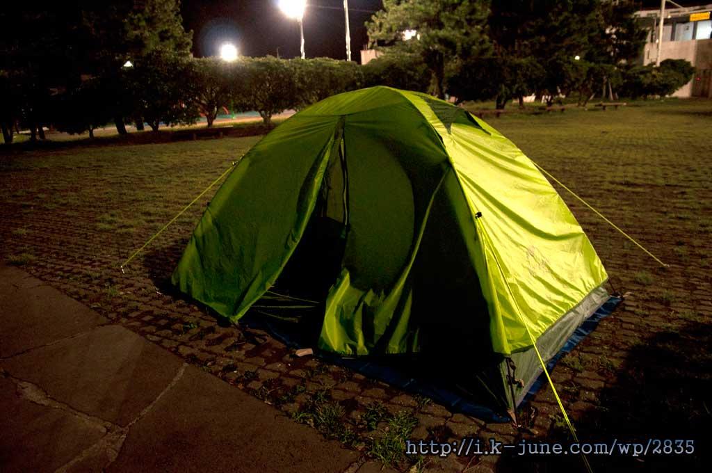 얼마전에 농협(Nature Hike) 초경량 2인용 텐트를 새로 샀다. 거실에서 한번 설치해보고 야외에서는 첫 캠핑이다.