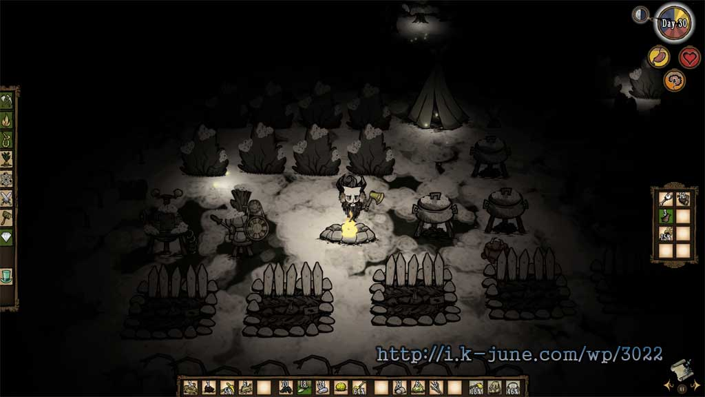 굶지마 게임 밤의 모습