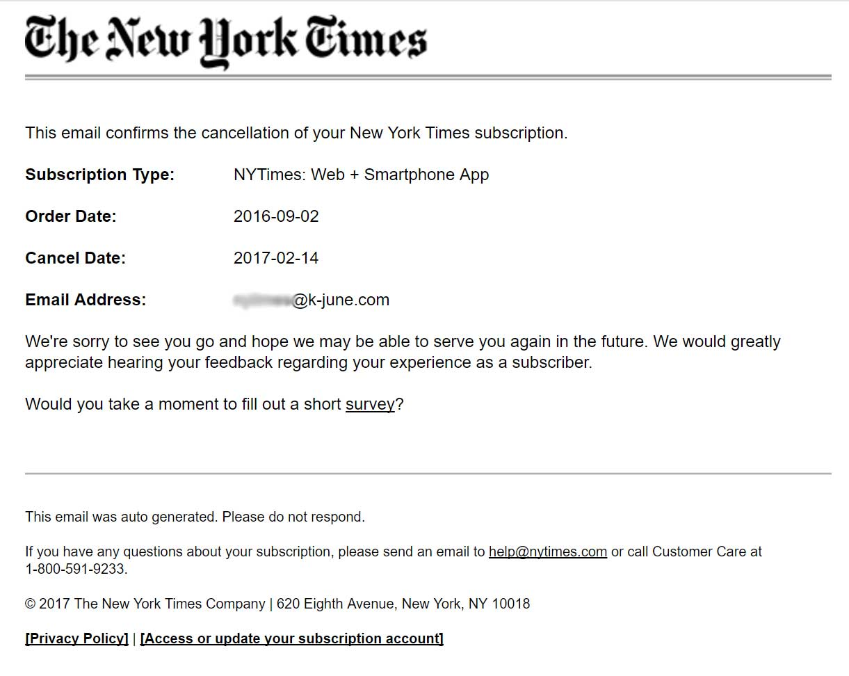 The New York Times email confirmation of the cancellation
