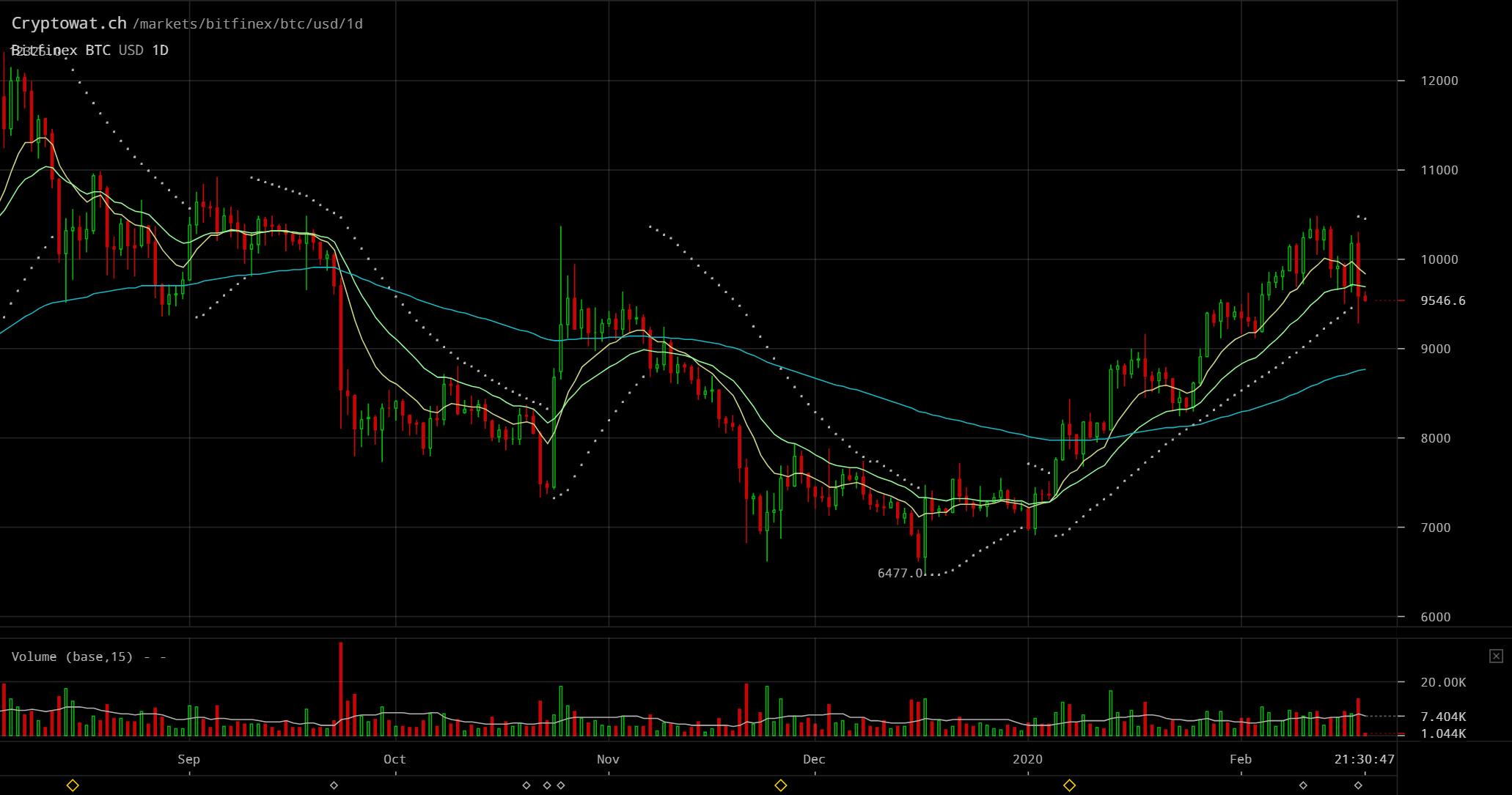 bitfinex bitcoin chart daily(비트파이넥스 비트코인 일봉 2020년2월)